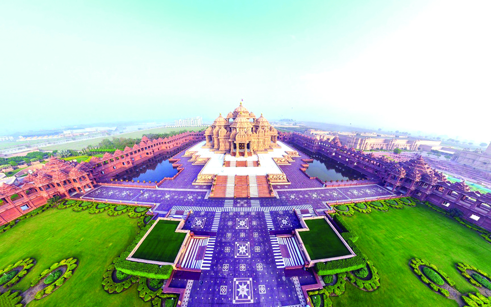 india_akshardham_temple_beautiful_top_view_panorama_85106_3840x2400